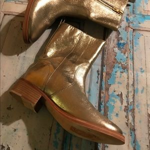 Tory Burch Halle Boots Gold Size 8 1/2